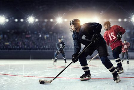 hockey players on the ice - NCAA and student hockey