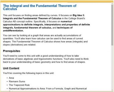 Advanced Placement Calculus - integral and fundamental theorem