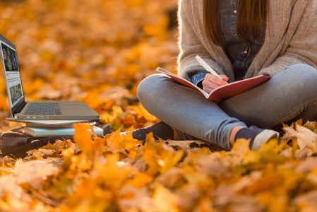 fall image with student and laptop - Apex Learning Virtual School Academy