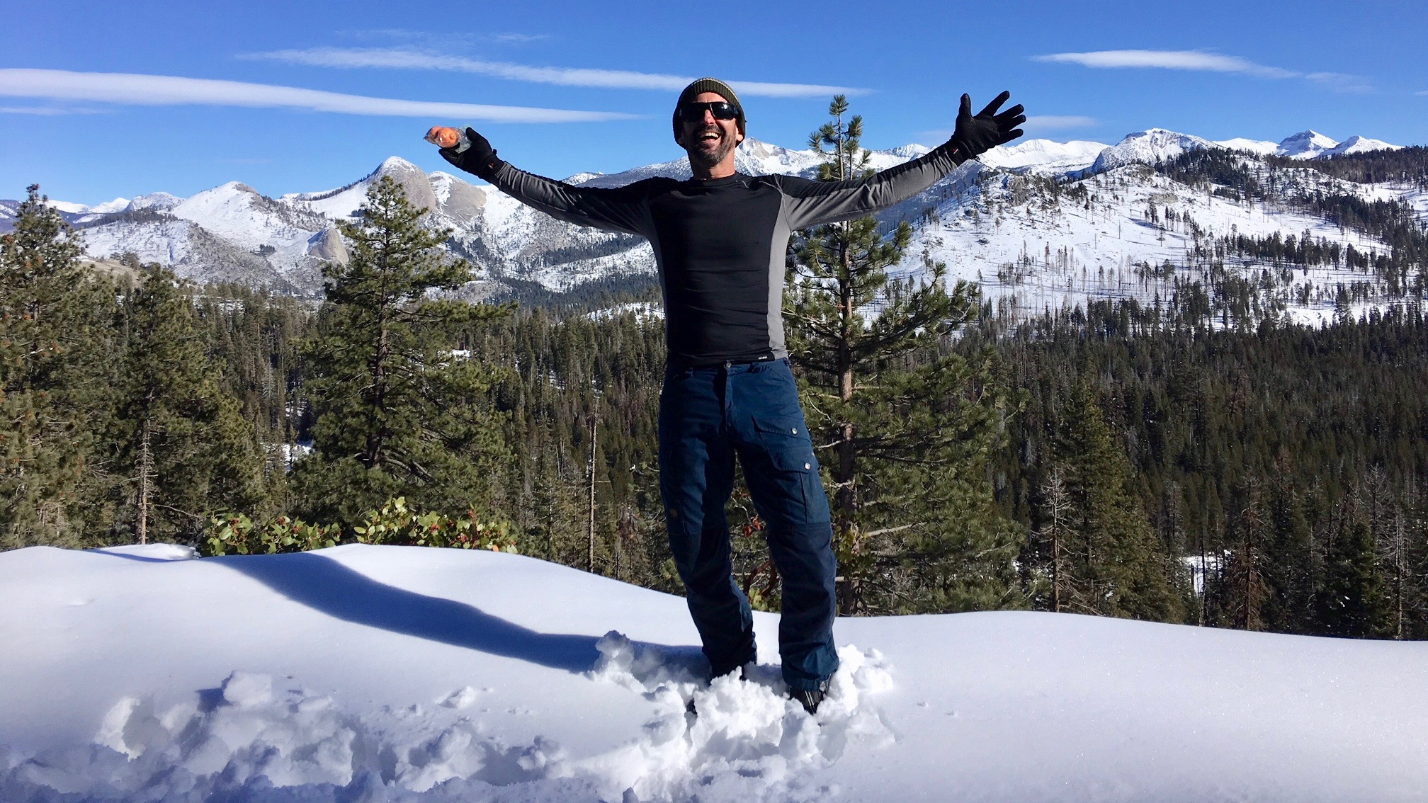 ALVS AP English teacher David Cicoletti on a snowy mountain top in Yosemite