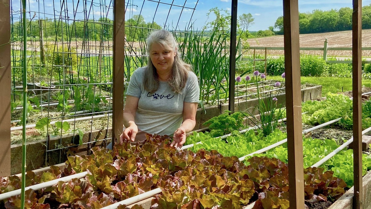 Science Department Chair Shirley Sklavos in her midwestern garden