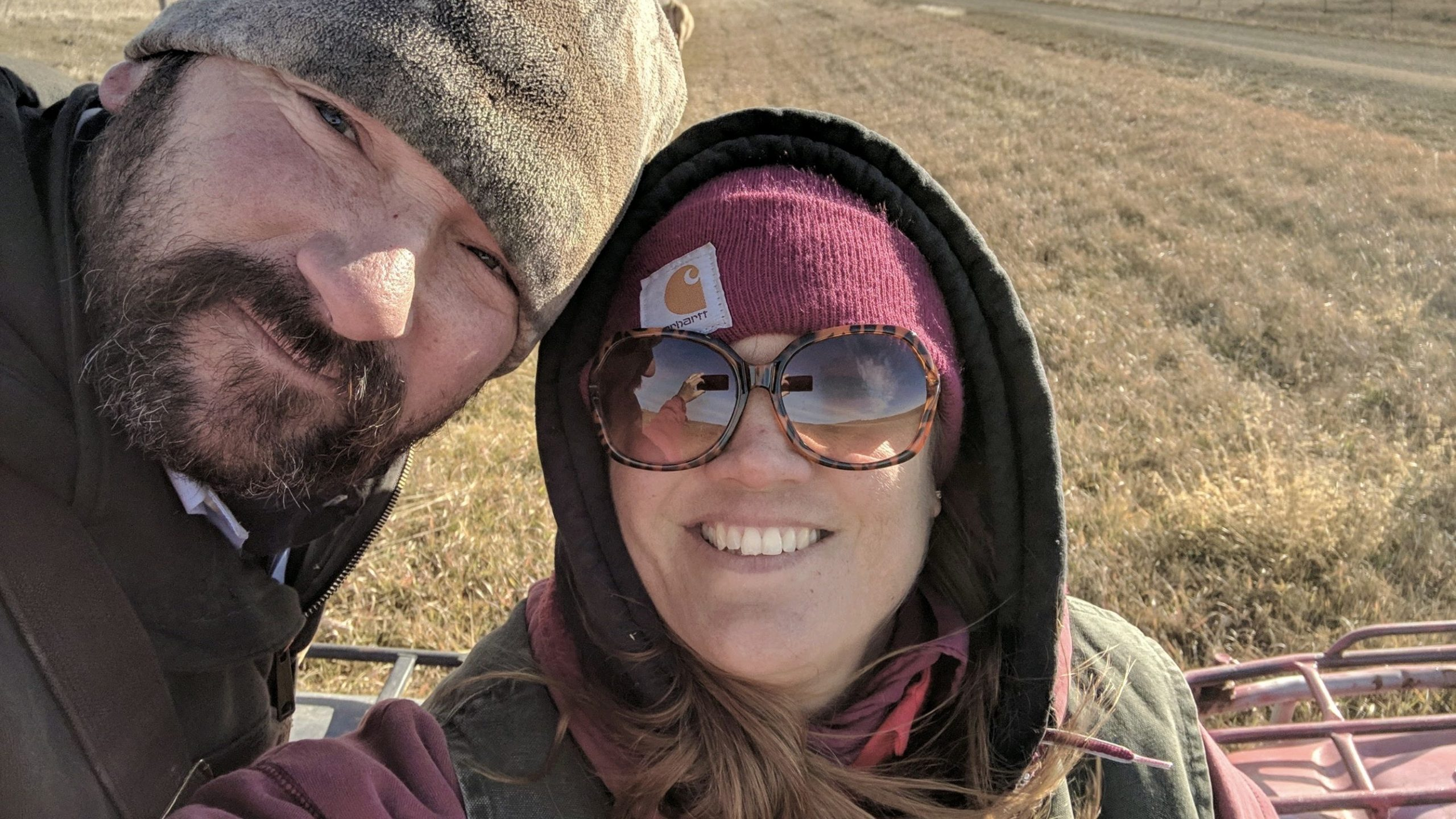 ALVS Spanish Teacher Kari Feldhaus with her husband Matt on their South Dakota ranch.